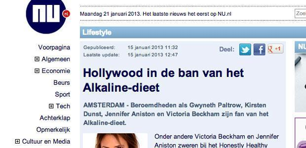 Hollywood in de ban van het Alkaline dieet