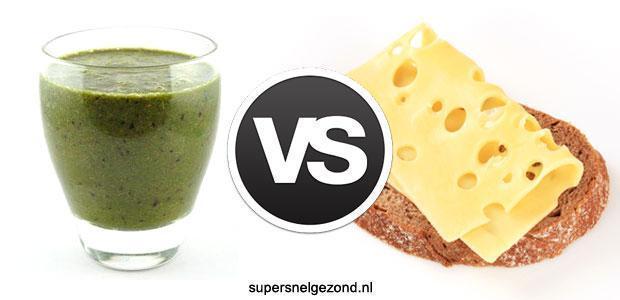 Groene smoothie vs boterhammen met kaas
