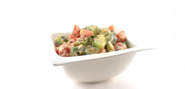 Salade met witte bonenpuree