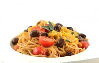 Spaghetti met pompoencreme