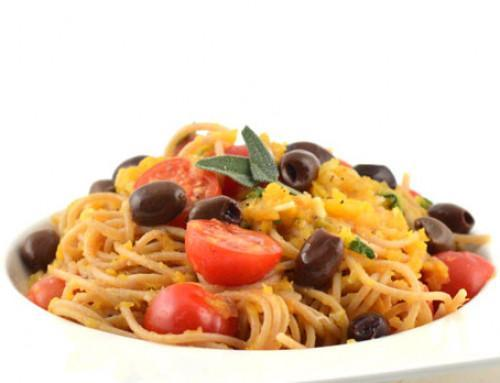 Spaghetti met pompoencrème (vegan)