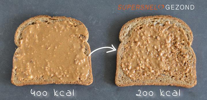 Boterhammen met pindakaas verschil in kcal