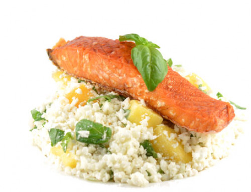 Low carb mango sushi rice met zalm